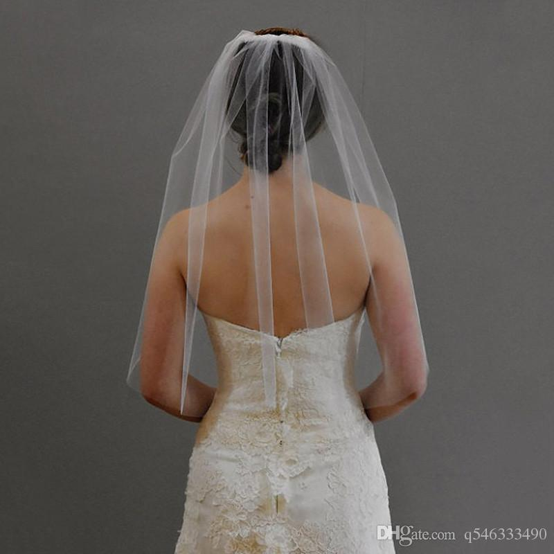 """Veu De Noiva Katman bir Beyaz Fildişi Kesim Düğün Peçe Tarak Ile 30 """"dirsek uzunluğu gelin peçe düz kenarlı"""