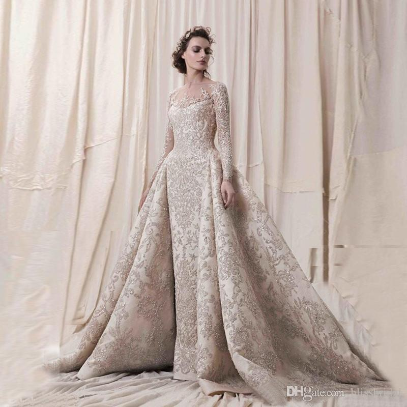 Elegant Sheer Neck Illusion Long Sleeve Prom Dresses Lace Applique Evening Dress See Thought Back Covered Button Floor Length Formal Dresses