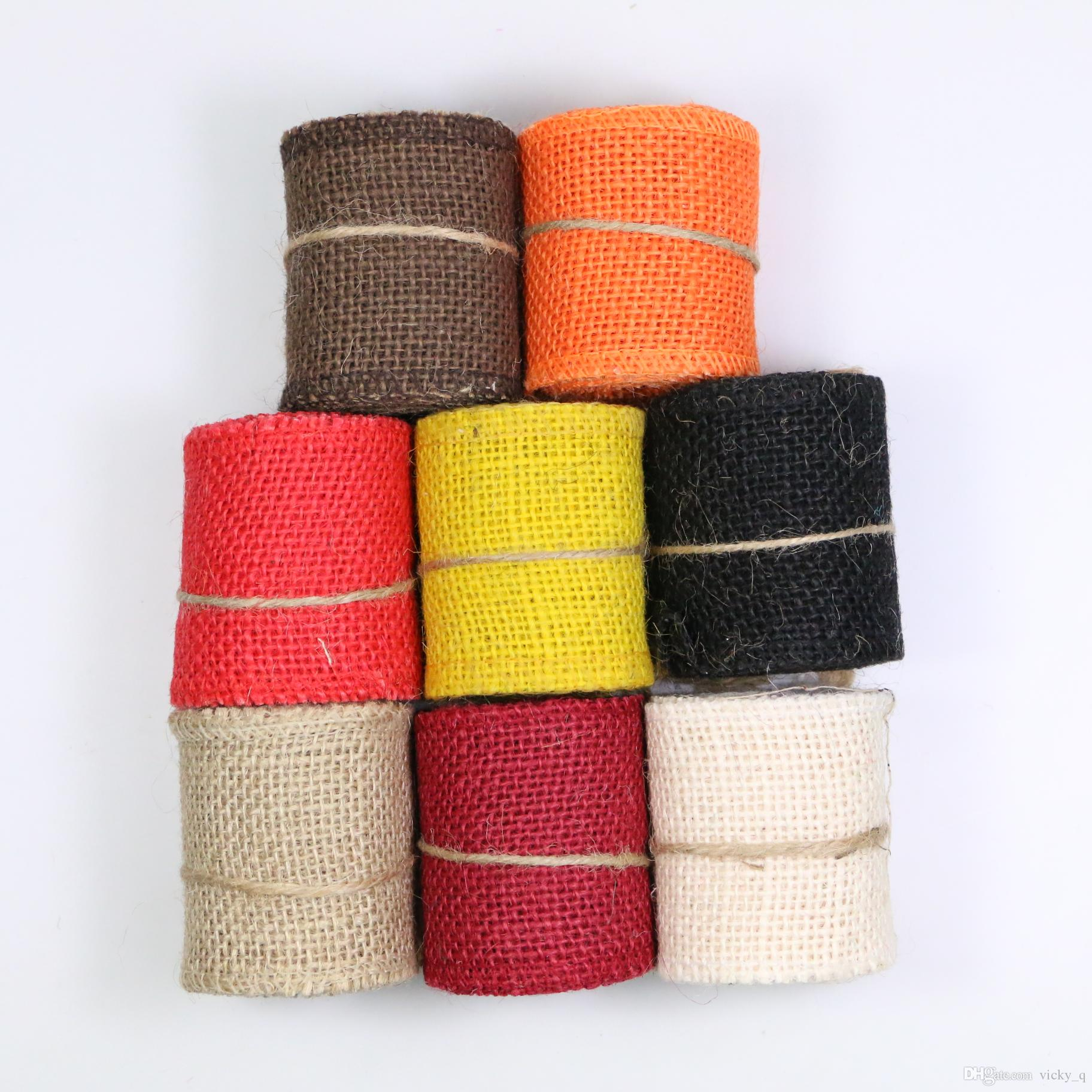 Width 60mm Handmade Craft Fabric Tape Natural Jute Cloth Ribbon for DIYHeadwear Wedding Party Festive Event Decoration Gift Wrap zd186