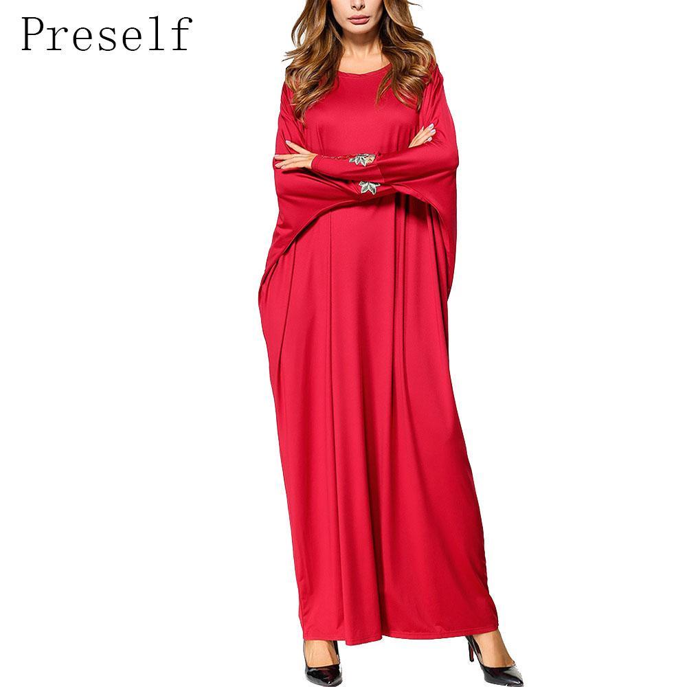 Preself mujeres otoño bordado Batwing manga O cuello Casual Maxi vestido suelto Abaya q171118