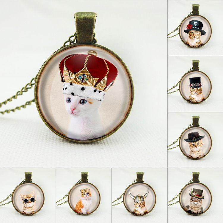 2017 Nette Katze Schmuck Klassische Glas Cabochon Halskette Anhänger Mode Collares für Frauen