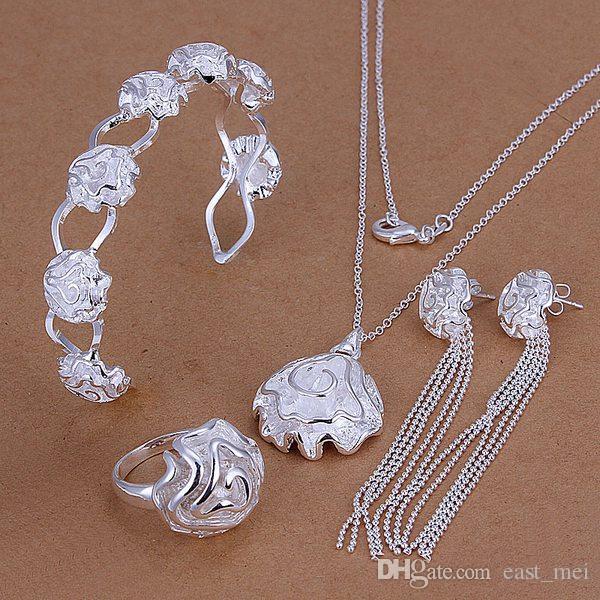 Hochzeitsrosen Sterling Silber Überzogene Schmuckset für Frauen ES295, Mode 925 Silber Halskette Armband Ohrring Ring Set