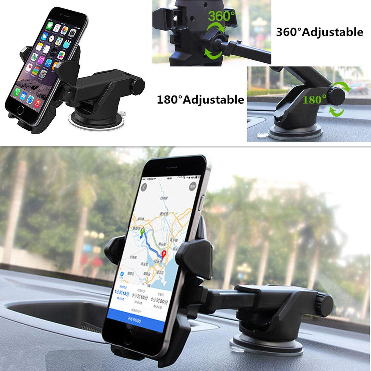 360 ° ajustable One Touch parabrisas coche ventosa soporte teléfono soporte GPS Stand Holder
