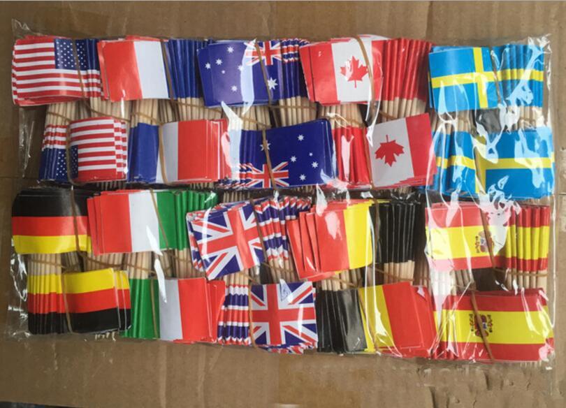 Pack of 250 Country Flag Picks CANADA 4 Long Wood Picks Decorative Wood Picks