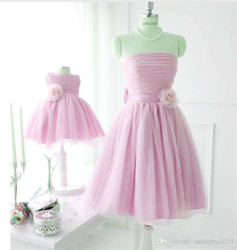 Wedding Birthday Bow Dress Mother Daughter Tulle Dresses 2020 Mom and Me Purple Matching Dress Women Dresses Girls Tutu Dress S311