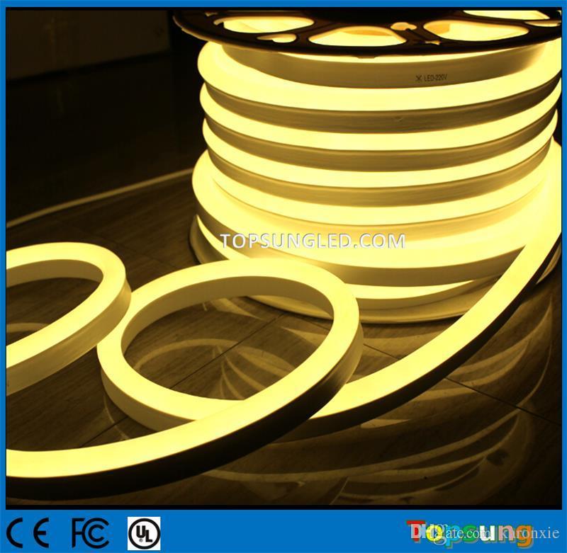 Вся продажа 20 м катушка 14 * 26 мм супер яркий гибкий светодиодный неоновый свет 12V 120SMD / M неоновая трубка освещение теплый белый led neon flex водонепроницаемый