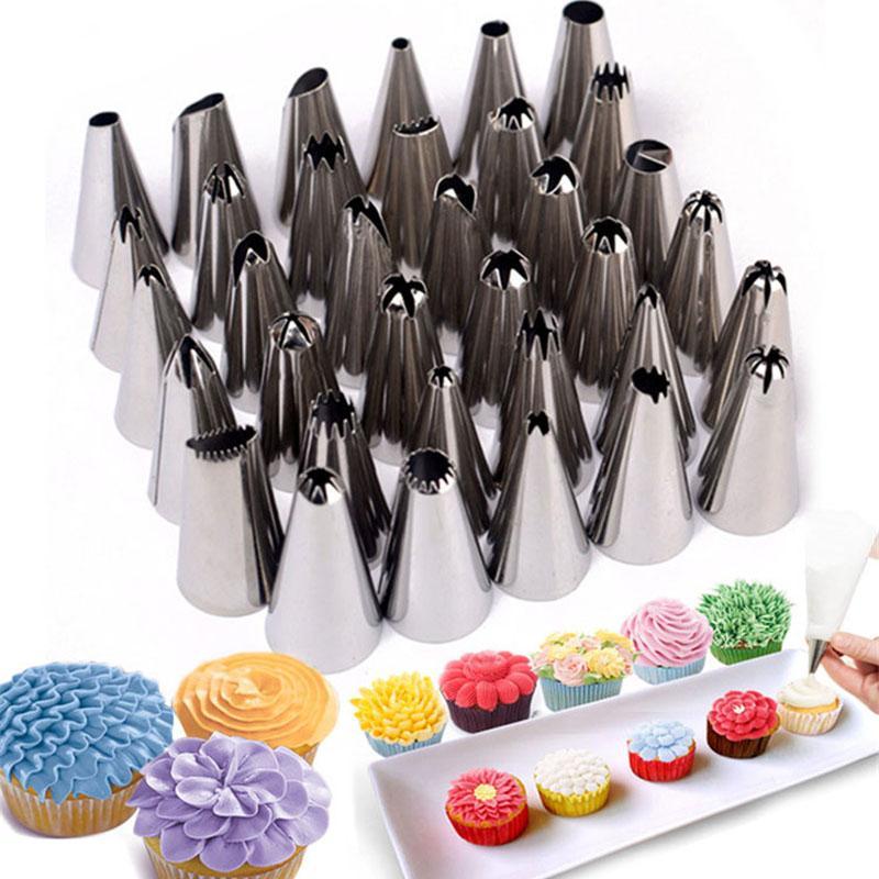 도매 - 35pcs / 세트 스테인레스 스틸 과자 팁 케이크 장식 도구 착빙 배관 노즐 제빵 제빵 제과 과자 도구