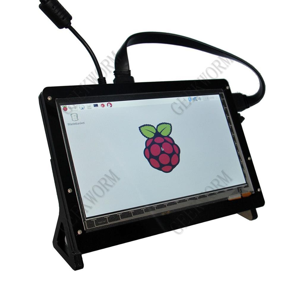Freeshipping Himbeer-PU 7-Zoll-kapazitiver Touch Screen LCD-Acryl Stander / Holder Shield für Himbeer-Pi 3 Modell B Bord