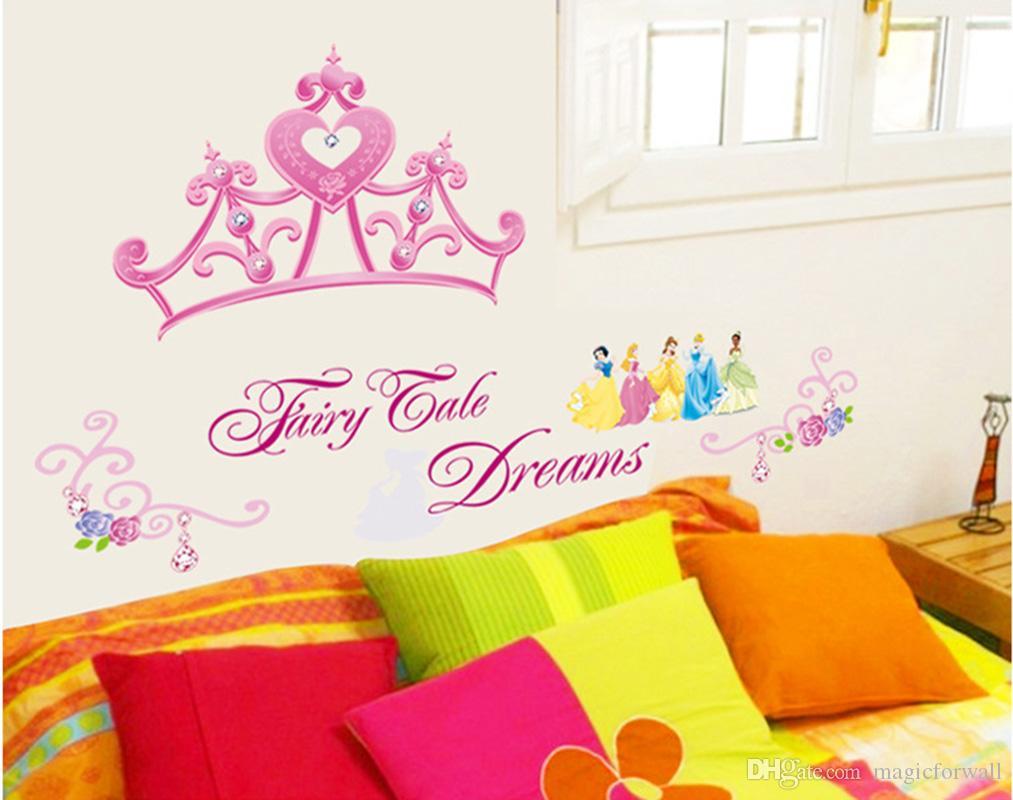 Pink Princess Crown Wall Sticker Girls Room Headboard Wall Mural Poster Decor Fake Metal Scroll Flowers Wallpaper Art DIY Home Decor Graphic