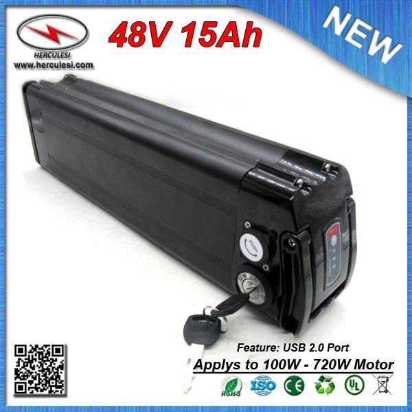 Potente batteria al litio bici bicicletta elettrica 48V 15Ah con Samsung cella batterie USB porto di spedizione + caricatore LIBERO