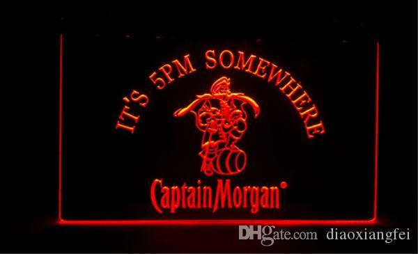 it's 5pm Somewhere Captain Morgan beer bar 3d signs culb pub led neon light sign home decor crafts