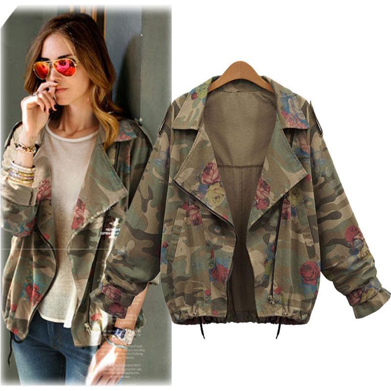 Gros- 2017 Nouveau Femmes Vestes Mode Vintage Camouflage Batwing Denim Veste Fleur Imprimé Manteau Zipper Automne Hiver Vêtements