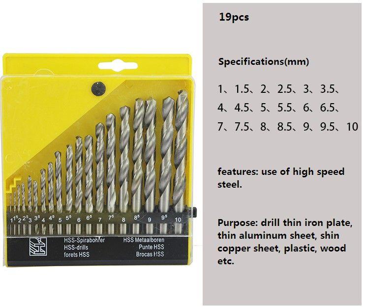 19 PCS Trou Scare Twist Twist Mini Twist Mini-Main-métal HSS Dossier de foret Set de forage pour plaque mince Feuille en aluminium mince, plaque de cuivre mince plaste