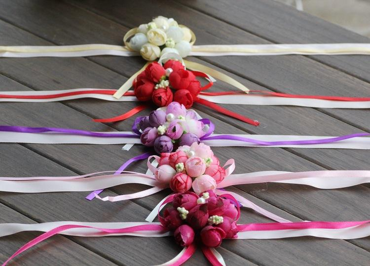 High Quality Artificial Wrist Flower 5 colors Sister Flowers Wedding decorations Wedding flowers corsage For bridesmaid For Free Shipping