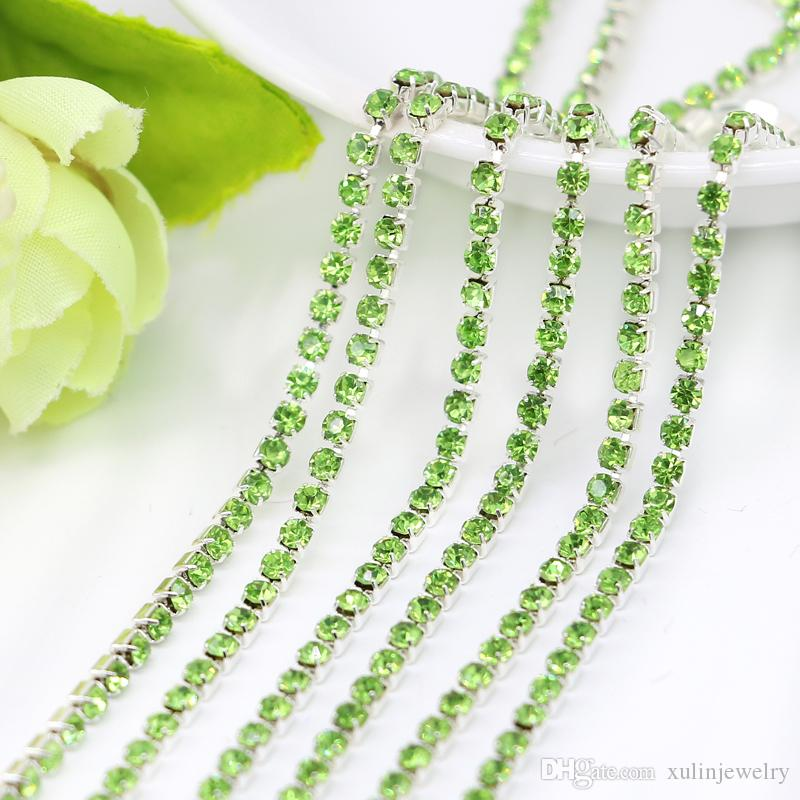 SS6.5-SS12 Peridot Chaton Close Rhinestone Cup Chain with Plated Silver Copper Cup Base for Wedding Dresss Making, 10Meters/Pack
