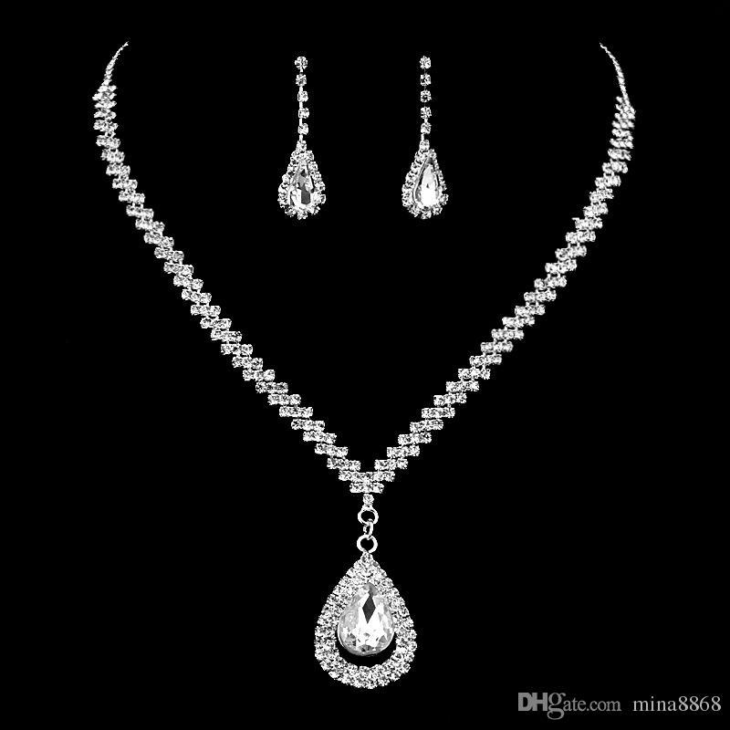 Conjuntos de joyería nupcial de boda de lágrima de cristal de alta calidad Conjunto de collar de diamantes de imitación para mujeres Conjunto de joyas de cuentas africanas al por mayor