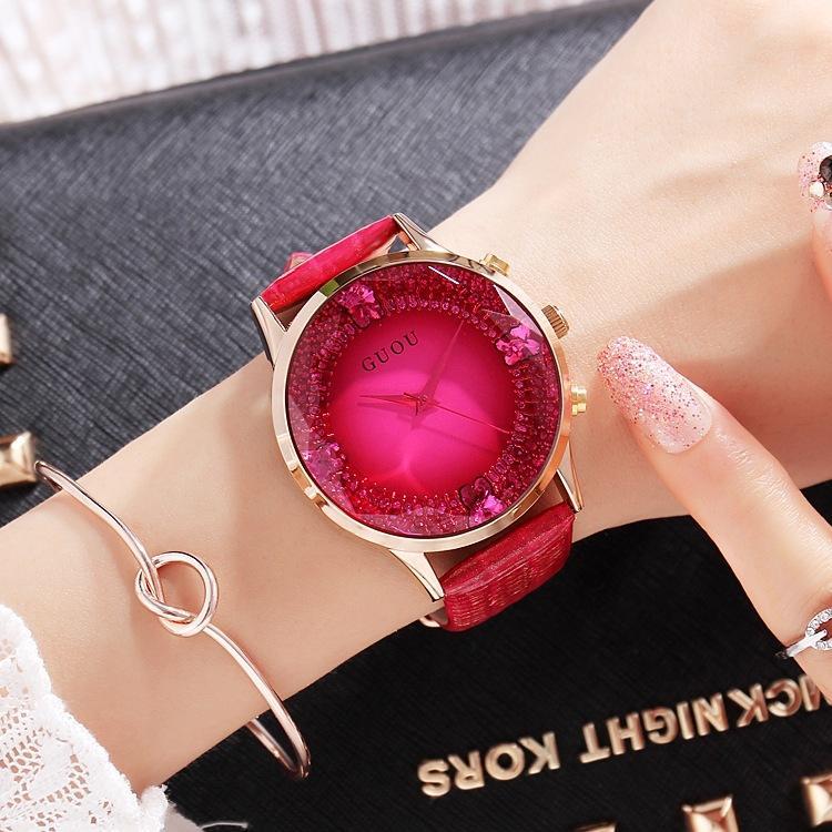GUOU Women Watch durable big luxury fashion handsome big dial diamond watch red purple leather strap ladies watch