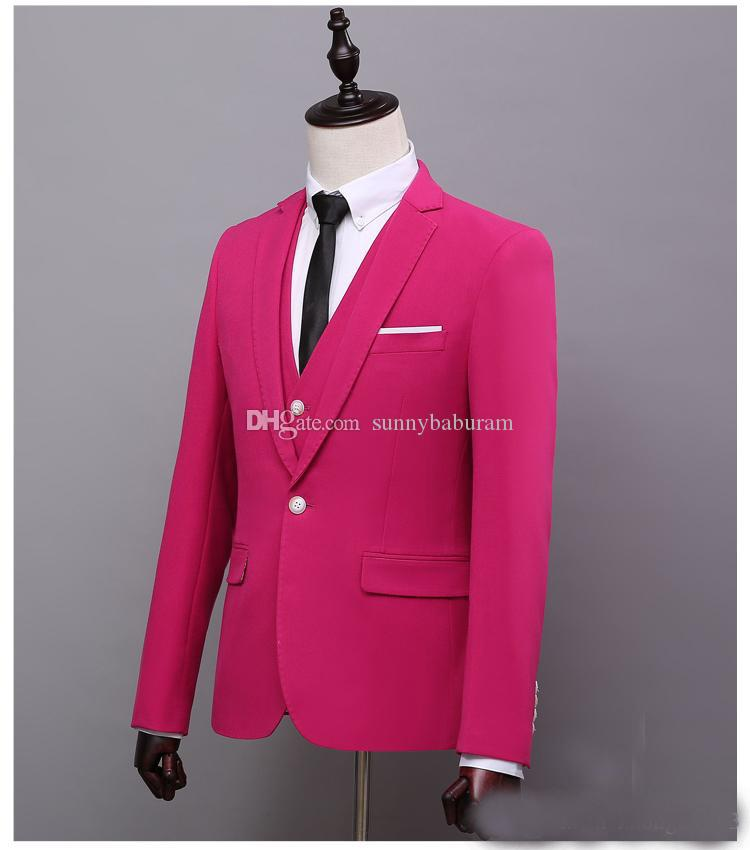 2017 Custom Rose Red Mens Suits Slim Fit Wedding Suits for Groom ...