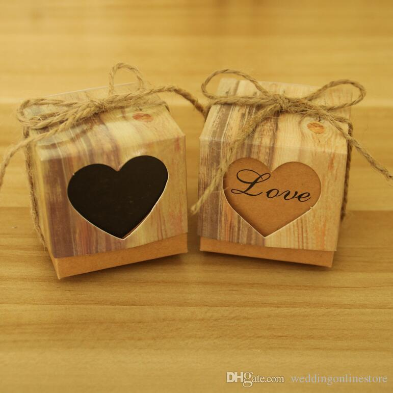 Hollow Love Heart Wedding Decoration Favor Boxes Wedding Birthday Baby Shower Party Candy Boxes Vintage Kraft Paper Gift Box Favor