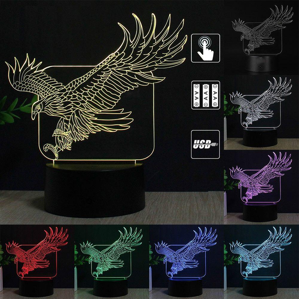 Kartal 3D Masa Lambası Renkli Gece Lambası Dokunmatik Anahtarı 7 Renk Değişimi LED Işık Ev Partisi Dekoratif Nightlight Hediye