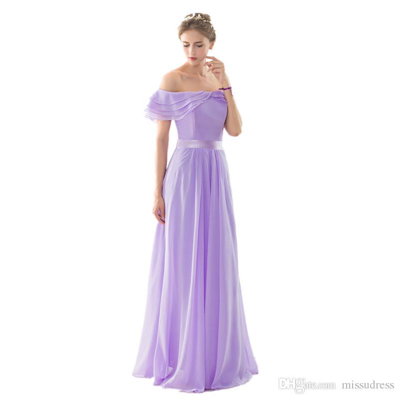 Off ombro vestidos de dama de honra robe de soiree 2017 Drapeado Chiffon Prom Wedding Convidado Vestidos Cheap Chiffon Dridesmaid Dress Long
