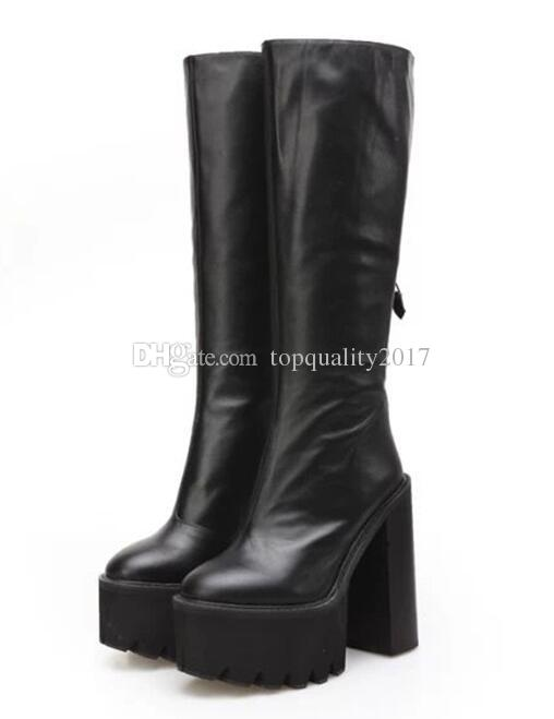 Fashion Platform Wedge Heels Knee Boots