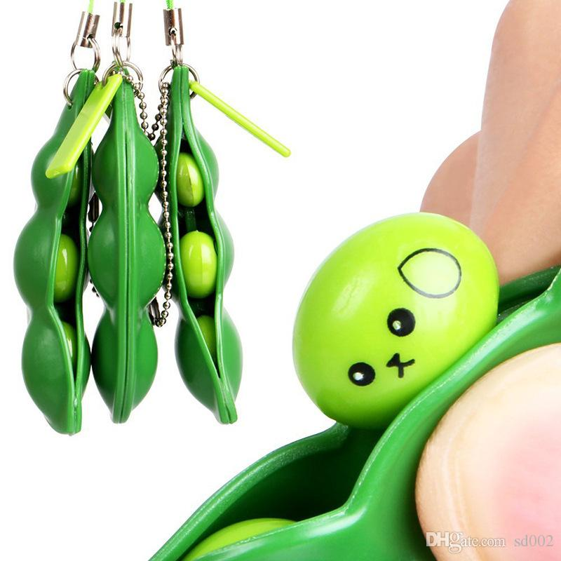 Extrusion Pea Bean Toys Cute Squeeze Decompression Soybean Edamame Squeeze Toy Mobile Phone Keychain Pendant Funny Design 2 6yr BZ