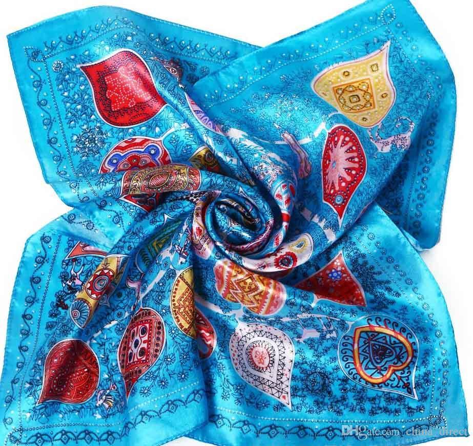 50cmスクエアシルクスカーフシルクスカーフネックスカーフスカーフ女性女の子子供20ピース/ロット#1890
