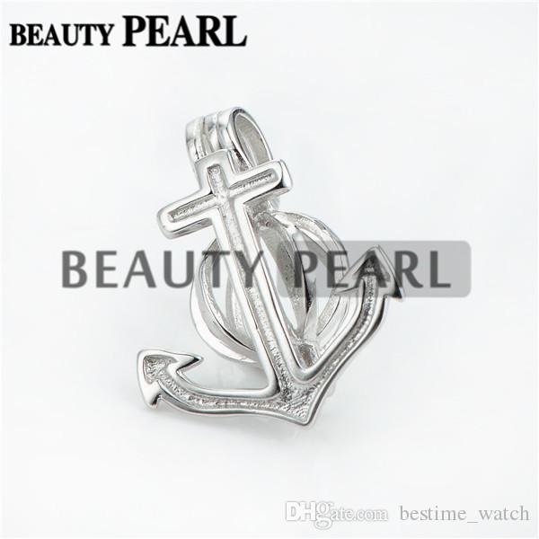 Bulk of 3 Pieces Anchor Pearl Cage Pendant Mounting Wishing Pearl Gift 925 Sterling Silver Lockets