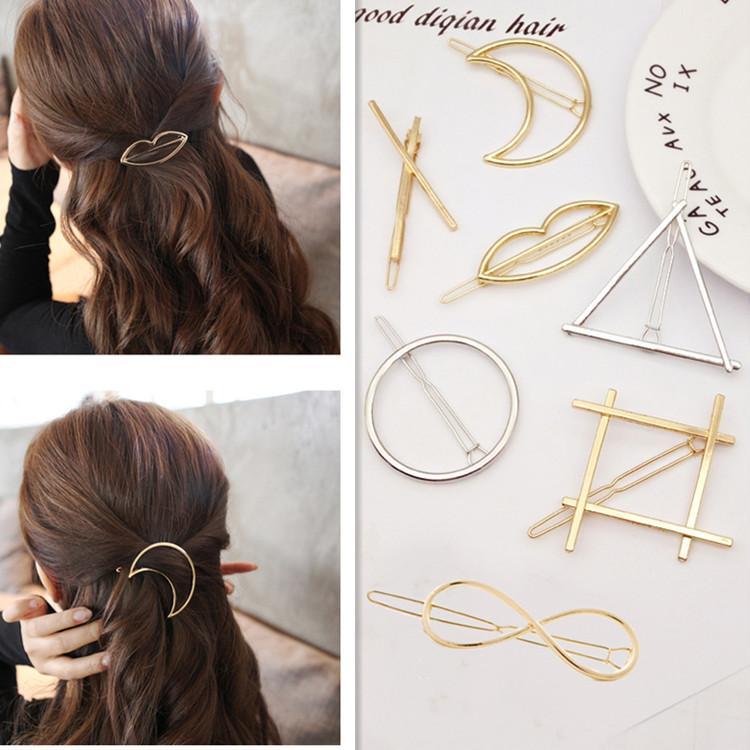 2017 New Korean Style Hair Accessory Moon Lip Mouth Circle Triagle Star Hair Clips Hairpins for Women Girls