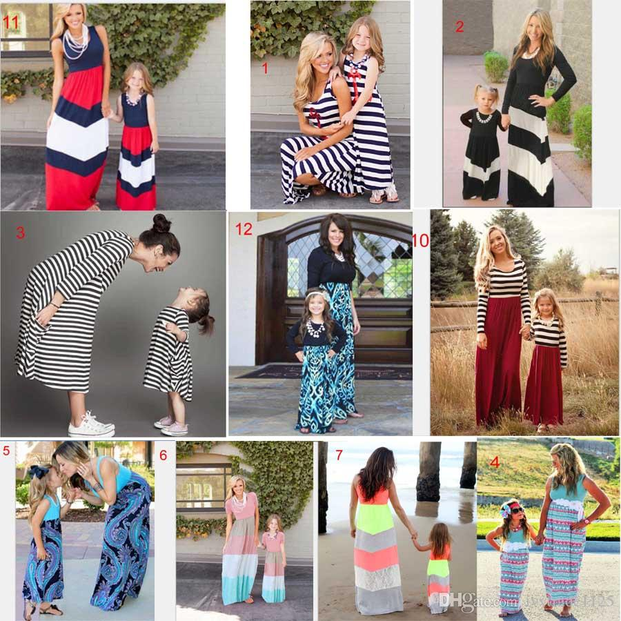 40 estilos Venda Quente Família Mamãe Filha Vestido Verão Família Correspondente Vestido Ressado Colorido Praia Vestido Frete Grátis