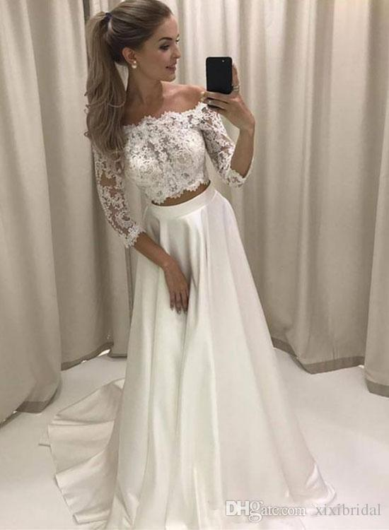shop for authentic various colors new arrivals Trendy Two Pieces Prom Dresses 2018 Off Shoulder 3/4 Sleeves Long Evening  Party Gowns Lace Top A Line Dress Best Prom Dresses 2015 Black Prom Dresses  ...