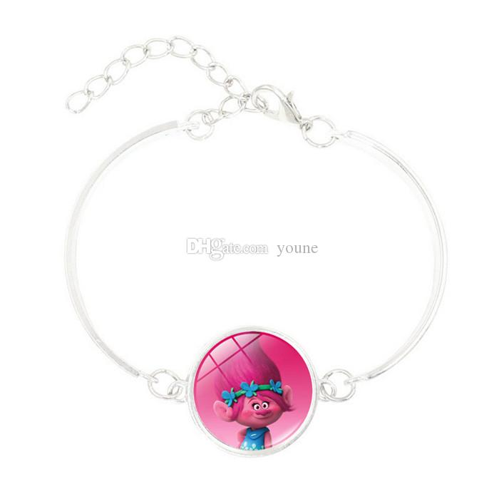Hot! 5pcs Anime Jewelry with Silve Plated DreamWorks Trolls Poppy Pattern Charm Statement Bracelet Bangle for Children Women