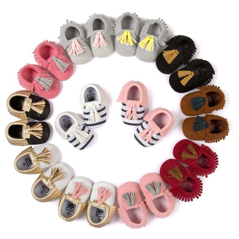 Оптовая торговля-Детская обувь малыша младенца унисекс мальчиков девочек мягкой кисточкой мокасины первые ходунки противоскользящая бахрома обувь