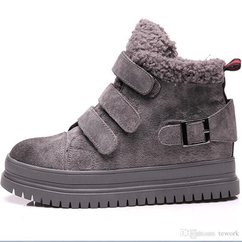 Kadınlar kış sıcak kar botları kalın ayakkabı tabanı kuzu yün kürk ayak bileği çizmeler klasik rüzgar geçirmez büyük boy pamuk ayakkabı boyutu 35-39