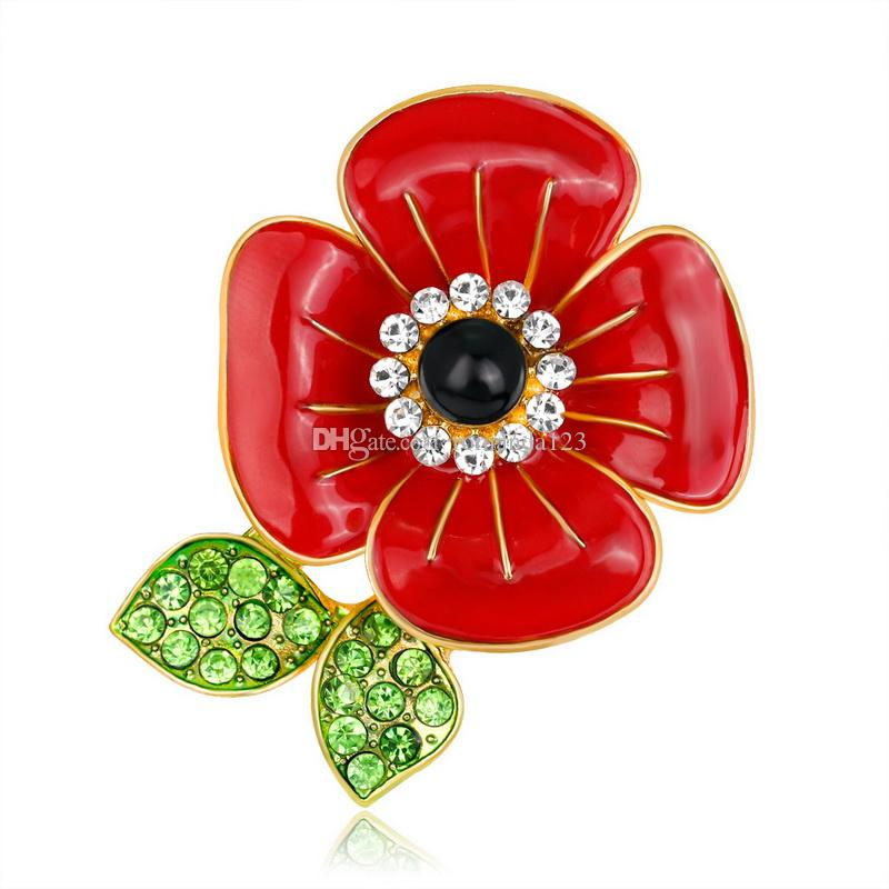 Royal British Style Brooch Crystal Poppy Red Enamel Flower Green Leaf Brooches Pins Fashion Jewelry Accessories Gift for Remebrance Day