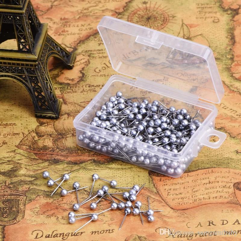 Carte Pockets Tête en plastique Pousses de poussée avec point d'acier pour carte et carton de liège, 400 pack (argent)
