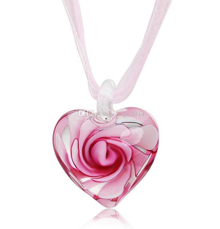 Coeur avec des fleurs à l'intérieur de Murano Murano Verre Vénitien Italien Mode Pendentifs Colliers Bijoux faits à la main Livraison gratuite