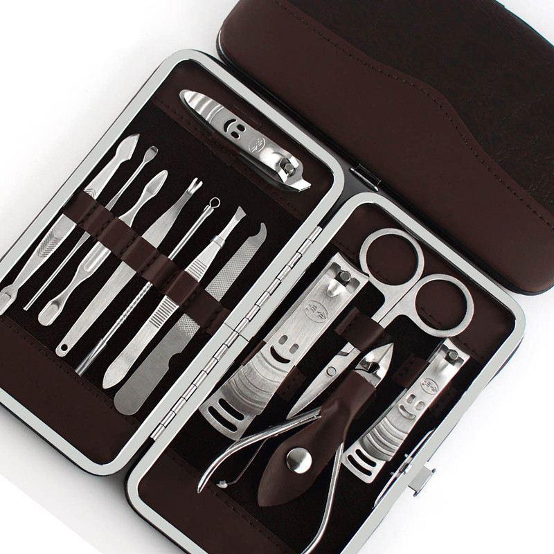 12pcs Maniküreset, Pedicure Scissor Pinzette Messer Ohrhacken Utility Nagelknipser Kit, Edelstahl Nagelpflege-Werkzeug-Set