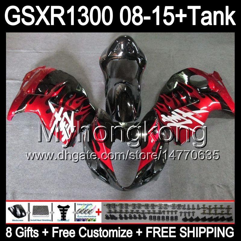 flammes rouges 8gifts Pour SUZUKI Hayabusa GSXR1300 2008 2010 2010 2011 14MY155 GSXR-1300 GSX R1300 GSXR 1300 2012 2013 2014 2015 noir Carénage