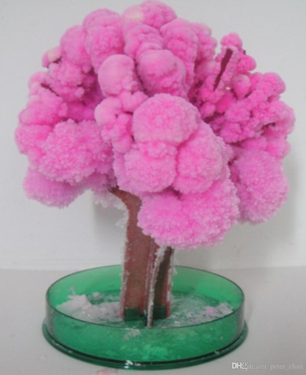 iWish Visual 2017 14x11cm Pink Big Grow Magic Japanese Sakura Paper Tree Magically Growing Trees Kit Desktop Cherry Blossom Kids Toys 5PCS