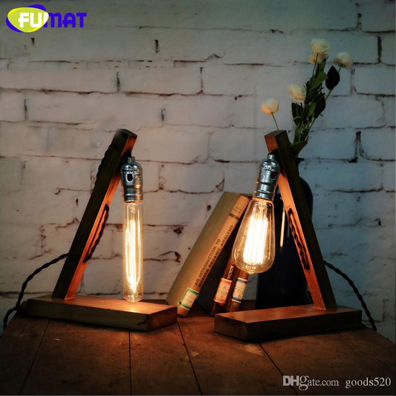 FUMAT Vintage Nature Wood Base Table Lamp with Edison Bulb Desk lamp Loft Industrial Retro Table Lights for Cafe Study
