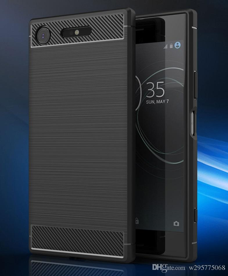 timeless design 7f59e e38bc FOR Sony Xperia XZ1 Carbon Fiber Silicone Case Soft TPU FOR XZ1 Compact  Shockproof Phone Back Cover Protectors Customize Phone Cases Mobile Phone  Case ...