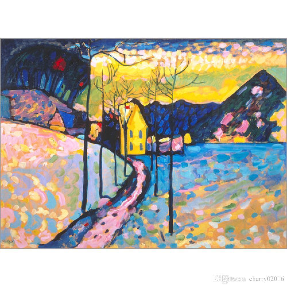 Современное абстрактное искусство Василия Кандинского картины маслом Холст Winterlandschaft I. ручная роспись декора стен