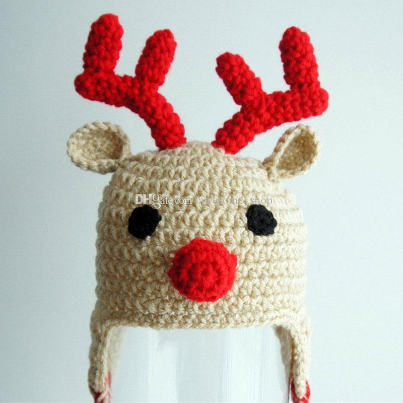 Handmade Crochet Rudolph Red Nosed Moose Hat,Baby Boy Girl Christmas Reindeer Hat,Infant Animal Cap,Newborn Toddler Photo Prop