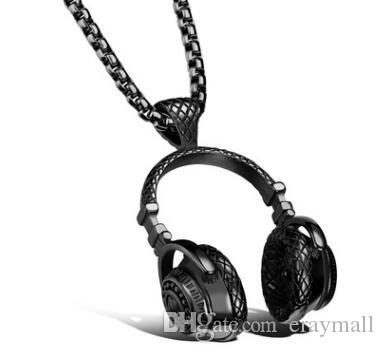 Европейская и американская мода рок-н-ролл стиль Титана стальные наушники кулон ожерелье из нержавеющей стали человек, чтобы отправить ее бойфренд