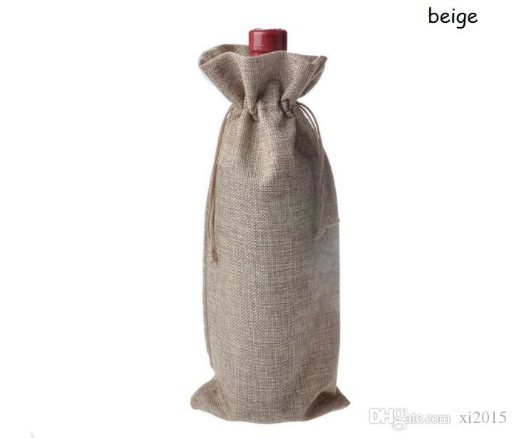 16 * 36cm Jute Wine Bags Champagne Wine Bottle Covers Gift Pouch burlap Packaging bag Wedding Party Decoration