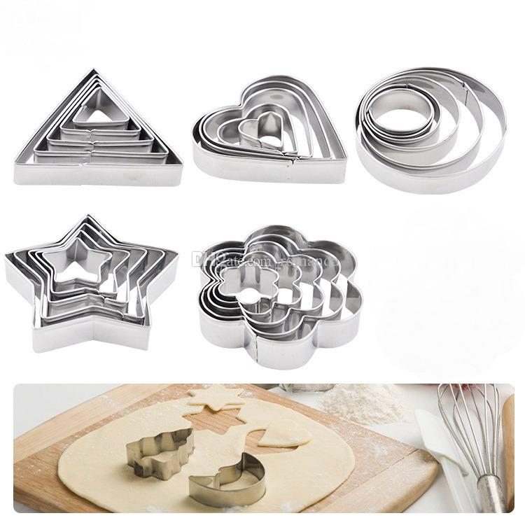 5pcs/set Stainless Steel Cookie Biscuit DIY Mold Star Heart Round Triangle Flower Shape Cutter Baking Mould New DHL Shipping Free