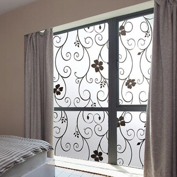 Home Frosted Privacy Cover Glass Window Door Black Flower Sticker
