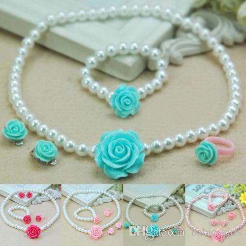 Forma de la flor de la perla de Niños para Niños Chicas oído del anillo de la pulsera del collar clips conjunto de joyería 1pcs collar + pulsera + 1pcs 1pcs Anillo + 2pcs clips para las orejas